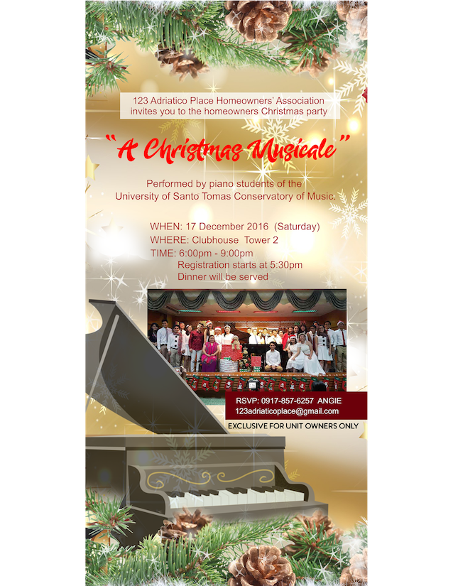 Your invitation to the HO Christmas party - 123 Adriatico Place ...